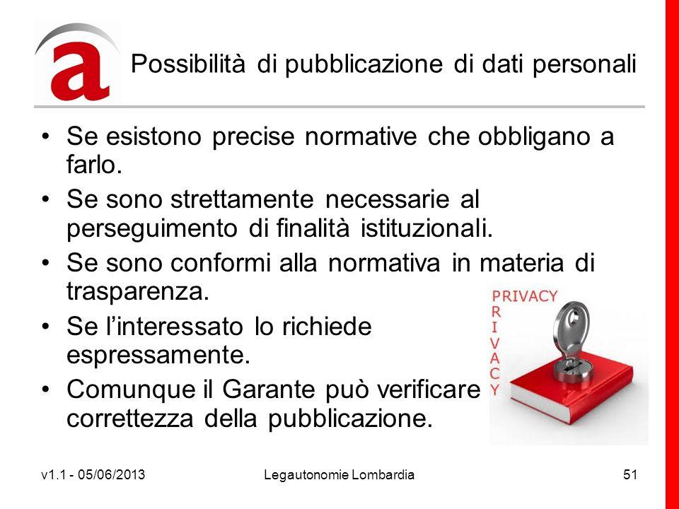 v1.1 - 05/06/2013Legautonomie Lombardia51 Possibilità di pubblicazione di dati personali Se esistono precise normative che obbligano a farlo.