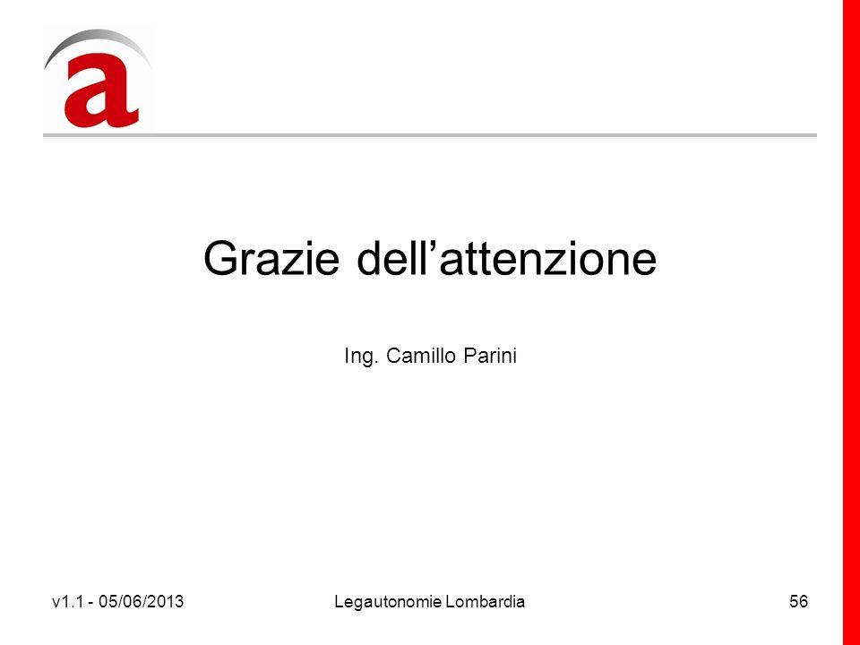 v1.1 - 05/06/2013Legautonomie Lombardia56 Grazie dellattenzione Ing. Camillo Parini