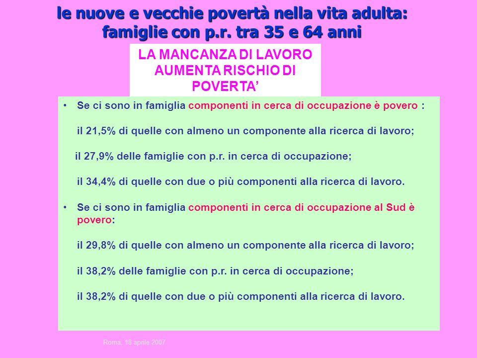 le nuove e vecchie povertà nella vita adulta: famiglie con p.r.
