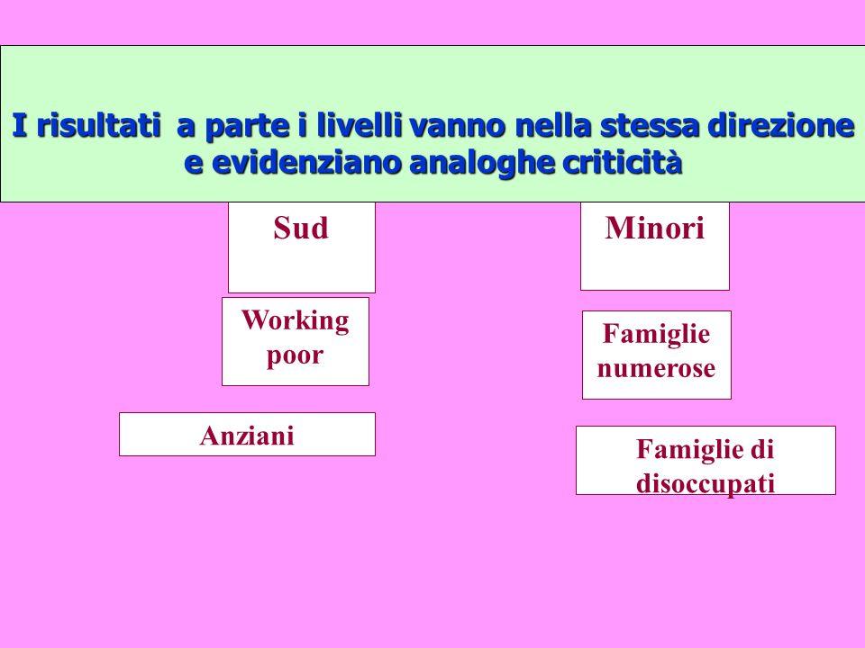 Le caratteristiche della povertà in Italia Profili strutturali ben delineati (2007) Incidenza ItaliaSud 2 milioni 653 mila11,1% 22.5% 2 milioni 653 mila famiglie11,1% 22.5% 7 milioni 542 mila12.8% 24.9% 7 milioni 542 mila persone12.8% 24.9% 1 milione 725 mila- 22,5% 1 milione 725 milaSud- 22,5% 299 mila22.4%32.9% 299 milafamiglie numerose (5 e più)22.4%32.9% 229 mila18,0%30.3% 229 milafamiglie con membri aggregati18,0%30.3% 512 mila17,3% 29,4% 512 mila con 2 o più figli minori17,3% 29,4% 1 milione 164 mila13,5%25.8% 1 milione 164 mila con anziani13,5%25.8% 1 milione 285 mila18,0%32.4% 1 milione 285 milacon P.R.