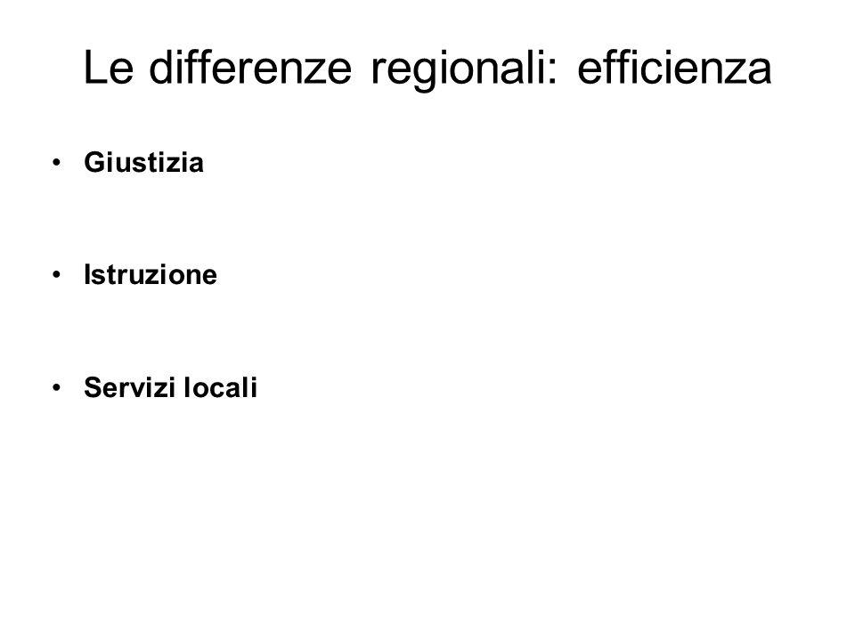 Le differenze regionali: efficienza Giustizia Istruzione Servizi locali