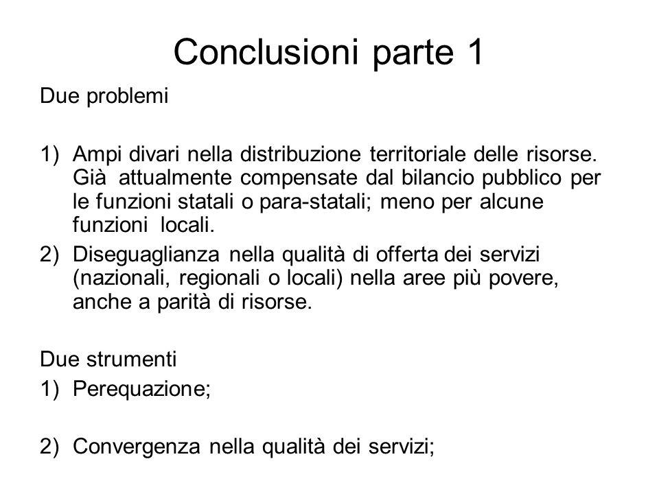 Conclusioni parte 1 Due problemi 1)Ampi divari nella distribuzione territoriale delle risorse. Già attualmente compensate dal bilancio pubblico per le