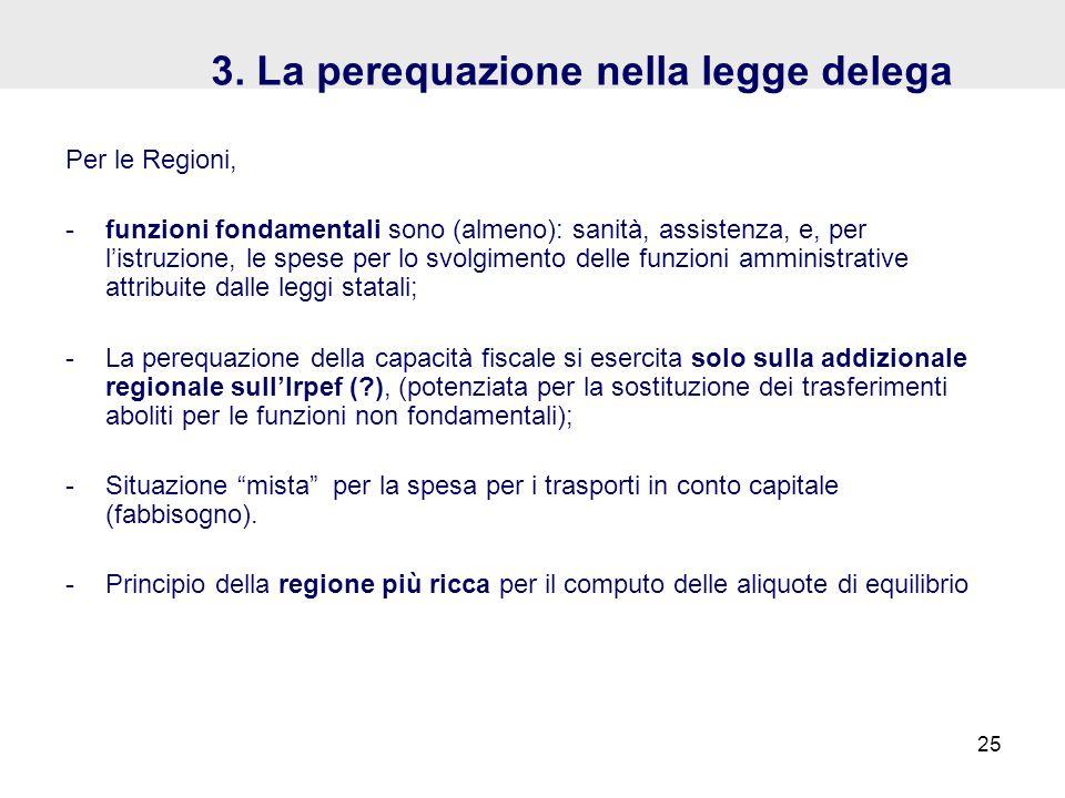 3. La perequazione nella legge delega Per le Regioni, -funzioni fondamentali sono (almeno): sanità, assistenza, e, per listruzione, le spese per lo sv