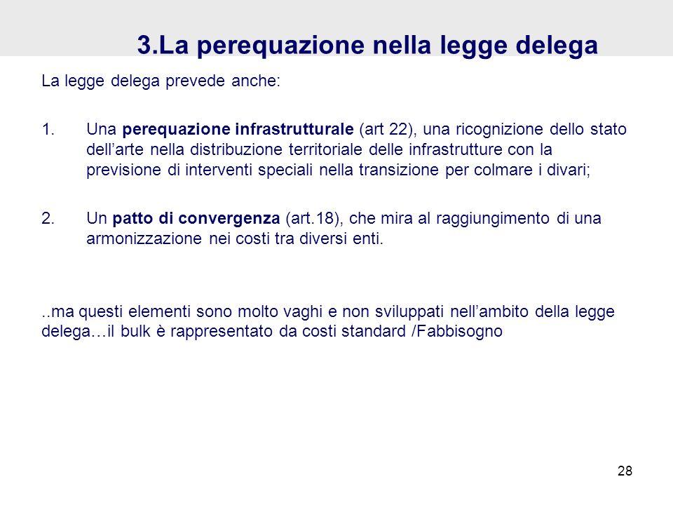 3.La perequazione nella legge delega La legge delega prevede anche: 1.Una perequazione infrastrutturale (art 22), una ricognizione dello stato dellart