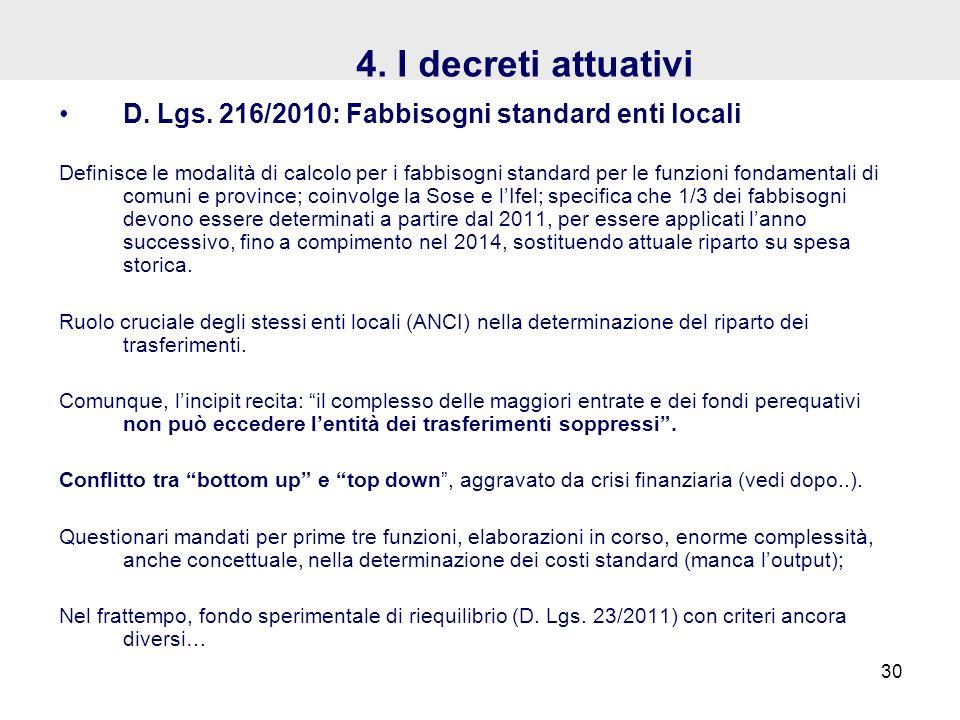 4. I decreti attuativi D. Lgs. 216/2010: Fabbisogni standard enti locali Definisce le modalità di calcolo per i fabbisogni standard per le funzioni fo