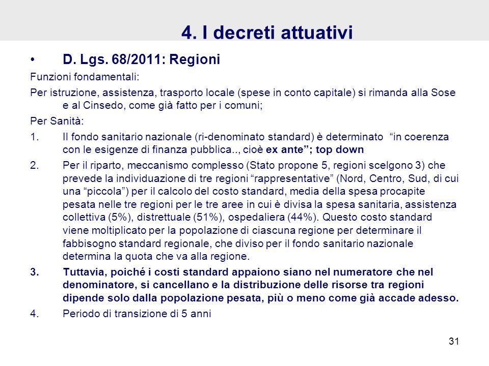 4. I decreti attuativi D. Lgs. 68/2011: Regioni Funzioni fondamentali: Per istruzione, assistenza, trasporto locale (spese in conto capitale) si riman