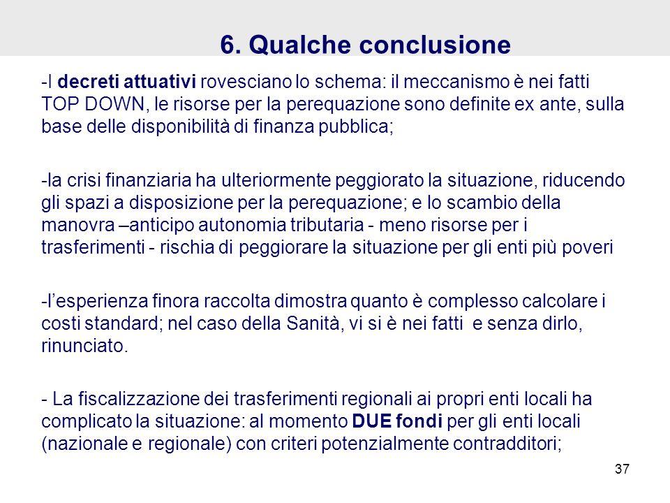 6. Qualche conclusione -I decreti attuativi rovesciano lo schema: il meccanismo è nei fatti TOP DOWN, le risorse per la perequazione sono definite ex