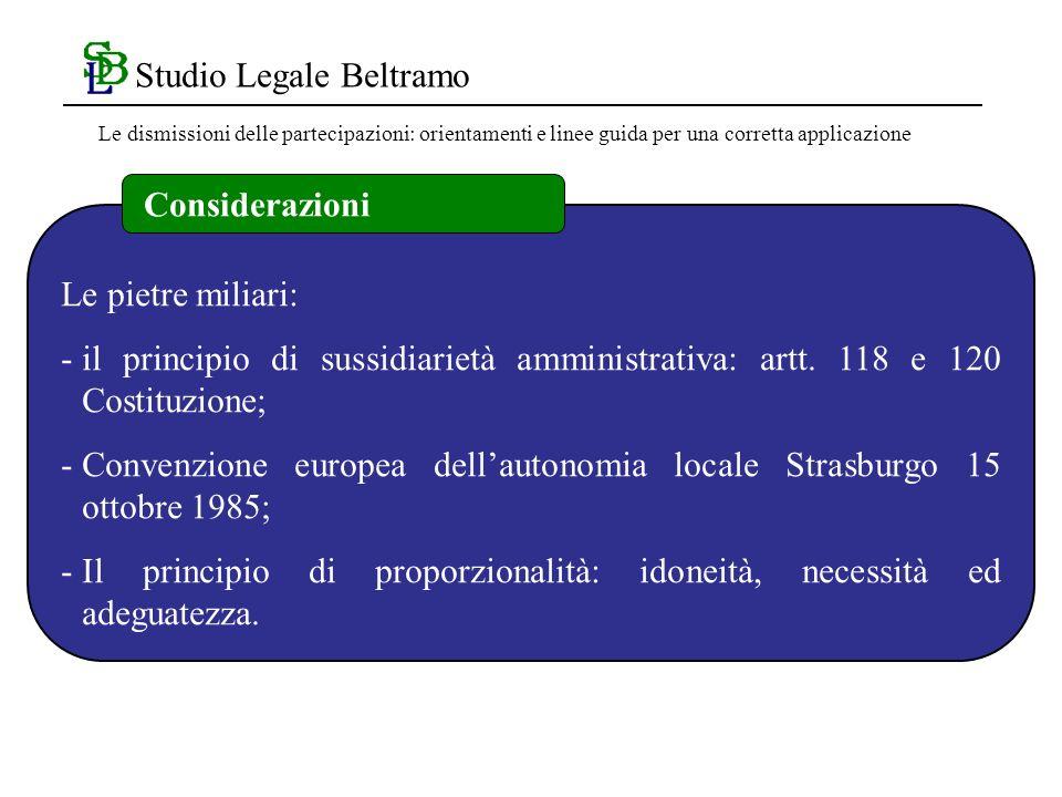Studio Legale Beltramo Le pietre miliari: -il principio di sussidiarietà amministrativa: artt.