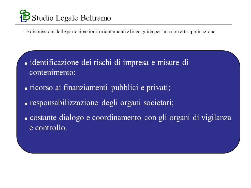 Studio Legale Beltramo identificazione dei rischi di impresa e misure di contenimento; ricorso ai finanziamenti pubblici e privati; responsabilizzazione degli organi societari; costante dialogo e coordinamento con gli organi di vigilanza e controllo.