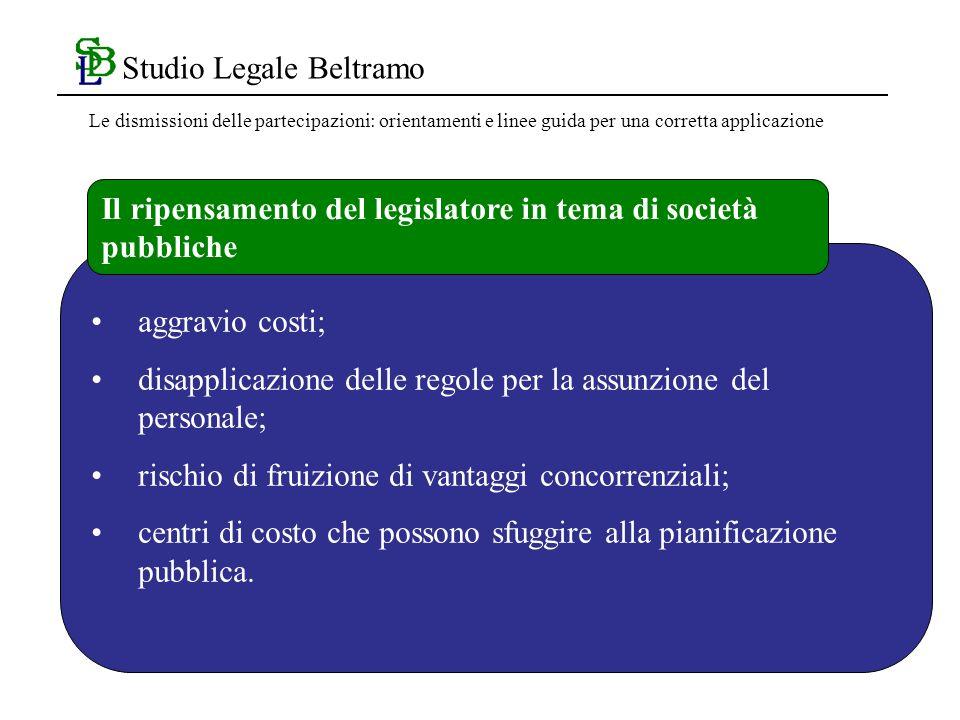 Studio Legale Beltramo aggravio costi; disapplicazione delle regole per la assunzione del personale; rischio di fruizione di vantaggi concorrenziali; centri di costo che possono sfuggire alla pianificazione pubblica.