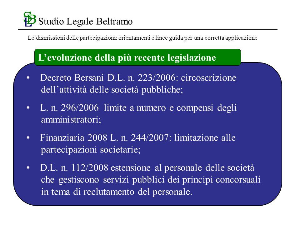 Studio Legale Beltramo Decreto Bersani D.L. n.