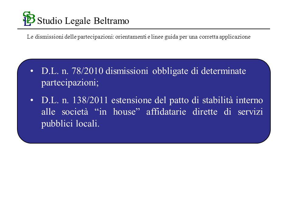 Studio Legale Beltramo D.L. n. 78/2010 dismissioni obbligate di determinate partecipazioni; D.L.