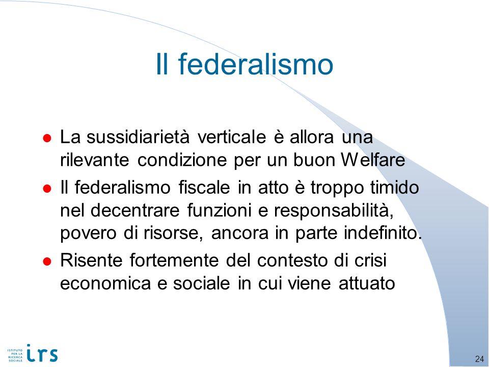 l La sussidiarietà verticale è allora una rilevante condizione per un buon Welfare l Il federalismo fiscale in atto è troppo timido nel decentrare funzioni e responsabilità, povero di risorse, ancora in parte indefinito.