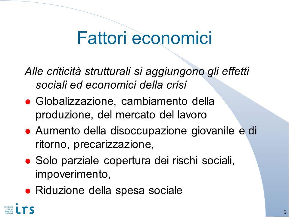 Alle criticità strutturali si aggiungono gli effetti sociali ed economici della crisi l Globalizzazione, cambiamento della produzione, del mercato del lavoro l Aumento della disoccupazione giovanile e di ritorno, precarizzazione, l Solo parziale copertura dei rischi sociali, impoverimento, l Riduzione della spesa sociale Fattori economici 6