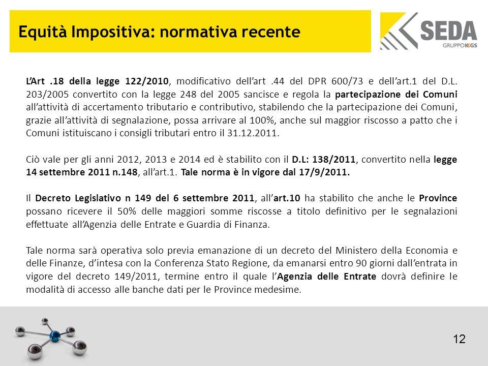 Equità Impositiva: normativa recente LArt.18 della legge 122/2010, modificativo dellart.44 del DPR 600/73 e dellart.1 del D.L. 203/2005 convertito con