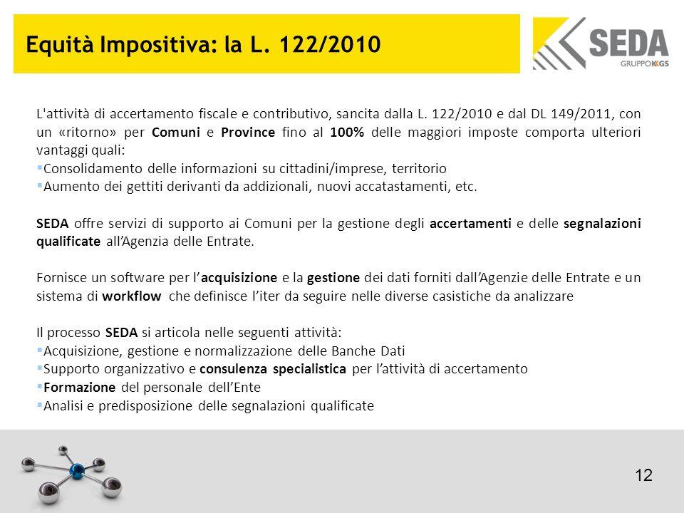 Equità Impositiva: la L. 122/2010 L'attività di accertamento fiscale e contributivo, sancita dalla L. 122/2010 e dal DL 149/2011, con un «ritorno» per