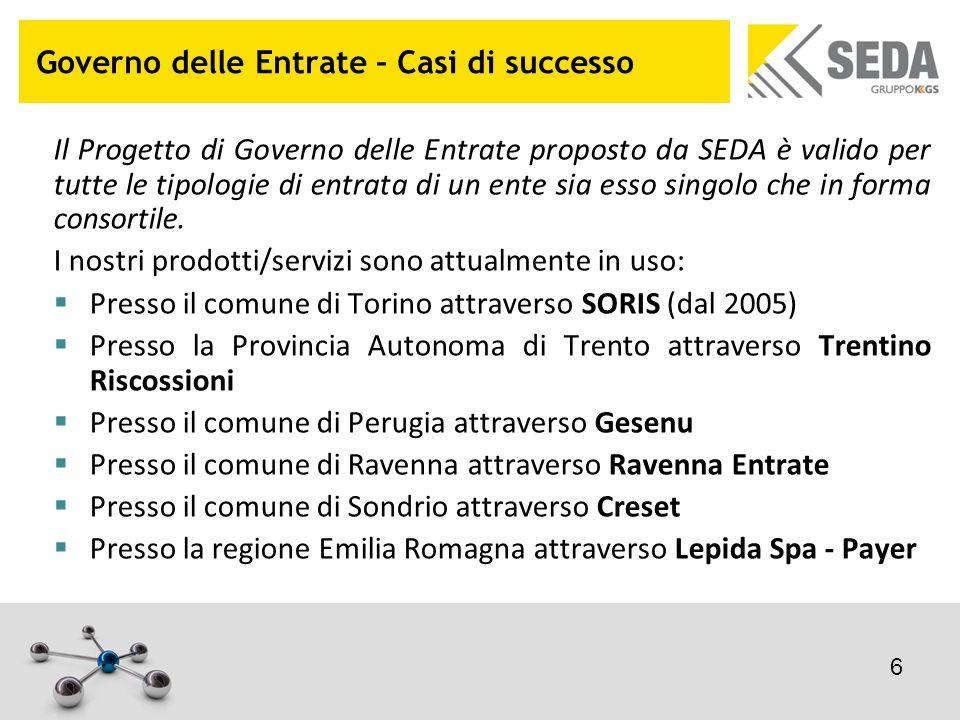 Governo delle Entrate – Casi di successo Il Progetto di Governo delle Entrate proposto da SEDA è valido per tutte le tipologie di entrata di un ente s