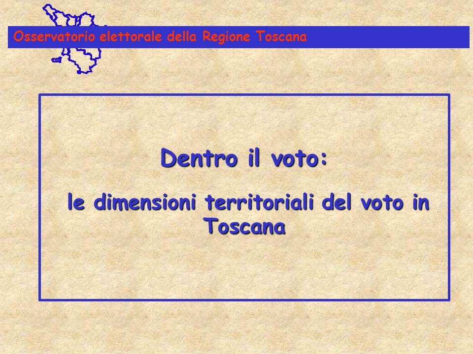 Dentro il voto: le dimensioni territoriali del voto in Toscana Dentro il voto: le dimensioni territoriali del voto in Toscana Osservatorio elettorale della Regione Toscana