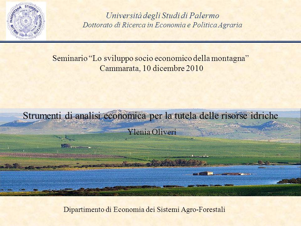 Università degli Studi di Palermo Dottorato di Ricerca in Economia e Politica Agraria Seminario Lo sviluppo socio economico della montagna Cammarata,