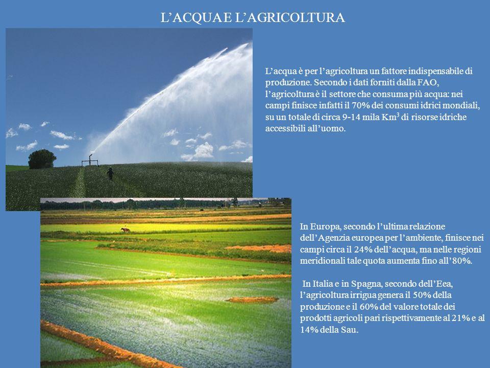 Lacqua è per lagricoltura un fattore indispensabile di produzione. Secondo i dati forniti dalla FAO, lagricoltura è il settore che consuma più acqua: