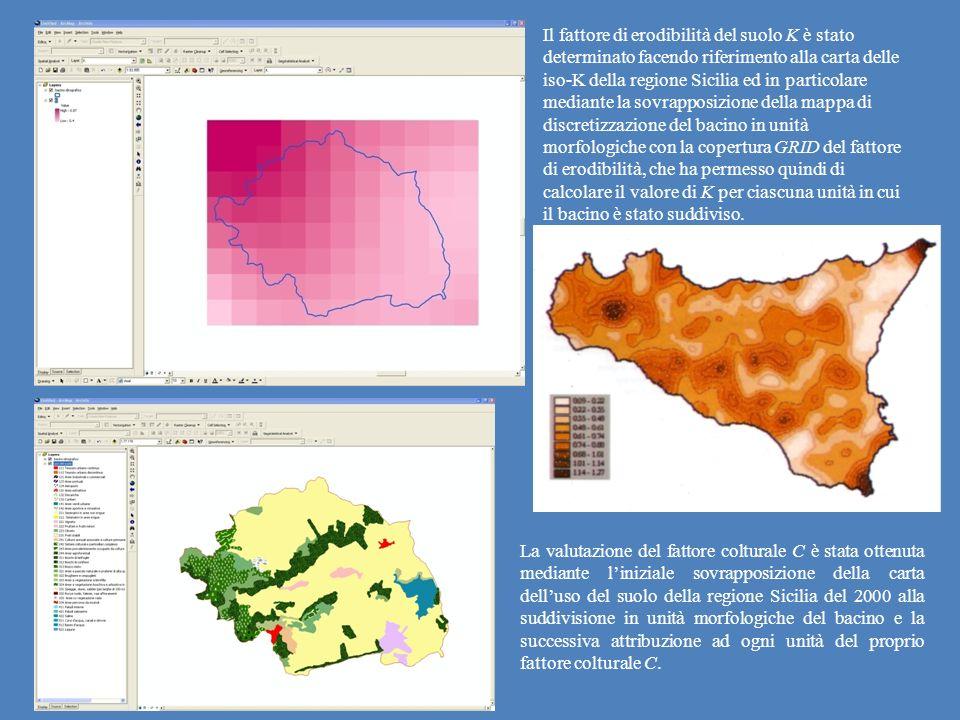 Il fattore di erodibilità del suolo K è stato determinato facendo riferimento alla carta delle iso-K della regione Sicilia ed in particolare mediante