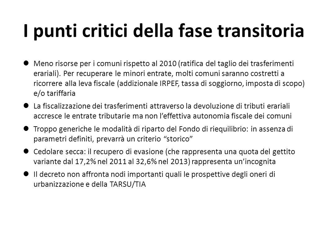 I punti critici della fase transitoria Meno risorse per i comuni rispetto al 2010 (ratifica del taglio dei trasferimenti erariali).