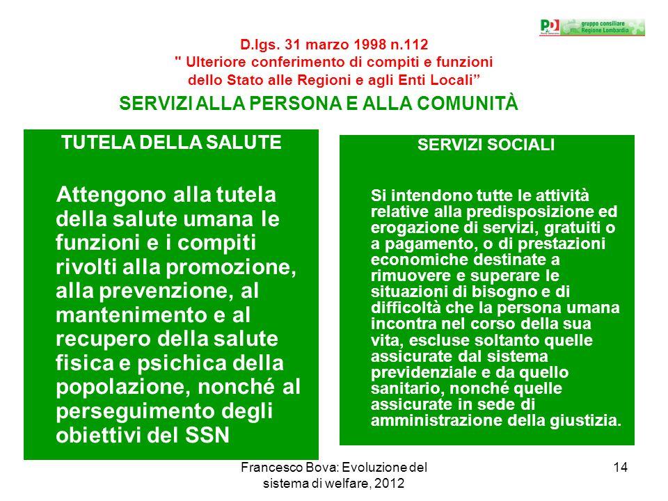 Francesco Bova: Evoluzione del sistema di welfare, 2012 14 D.lgs.