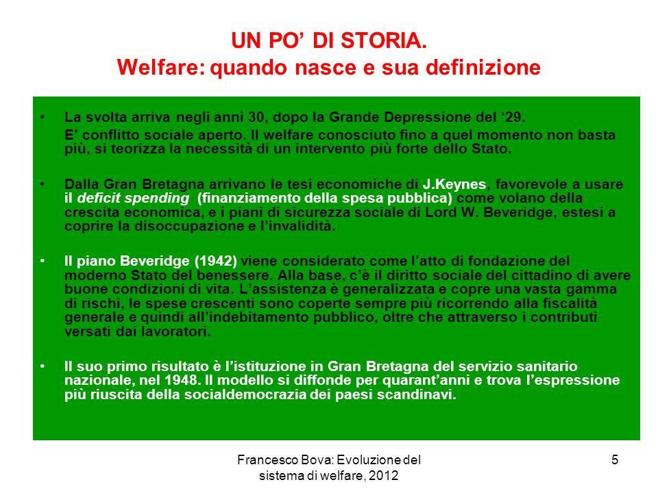 Francesco Bova: Evoluzione del sistema di welfare, 2012 26 NUOVI FENOMENI E NUOVI BISOGNI IMPOVERIMENTO DELLE FAMIGLIE AUMENTO DELLA POPOLAZIONE ANZIANA AUMENTO DELLA POPOLAZIONE NON AUTOSUFFICIENTE AUMENTO DI STRANIERI EXTRACOMUNITARI AUMENTO DI SOGGETTI CON FRAGILITA RELAZIONALE