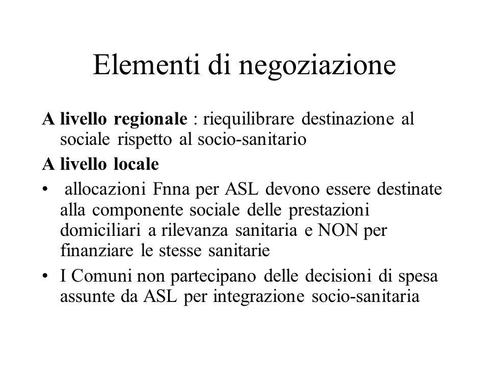 Elementi di negoziazione A livello regionale : riequilibrare destinazione al sociale rispetto al socio-sanitario A livello locale allocazioni Fnna per