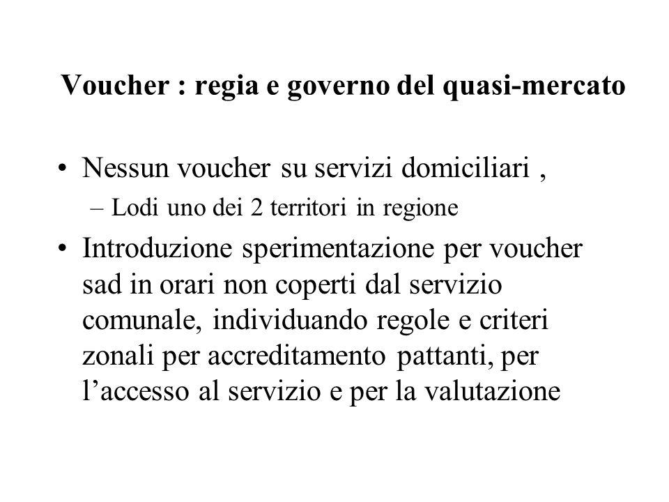 Voucher : regia e governo del quasi-mercato Nessun voucher su servizi domiciliari, –Lodi uno dei 2 territori in regione Introduzione sperimentazione p