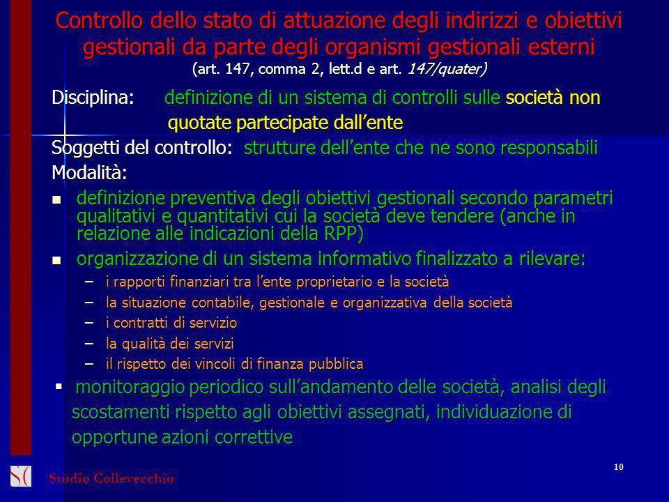 Controllo dello stato di attuazione degli indirizzi e obiettivi gestionali da parte degli organismi gestionali esterni (art.