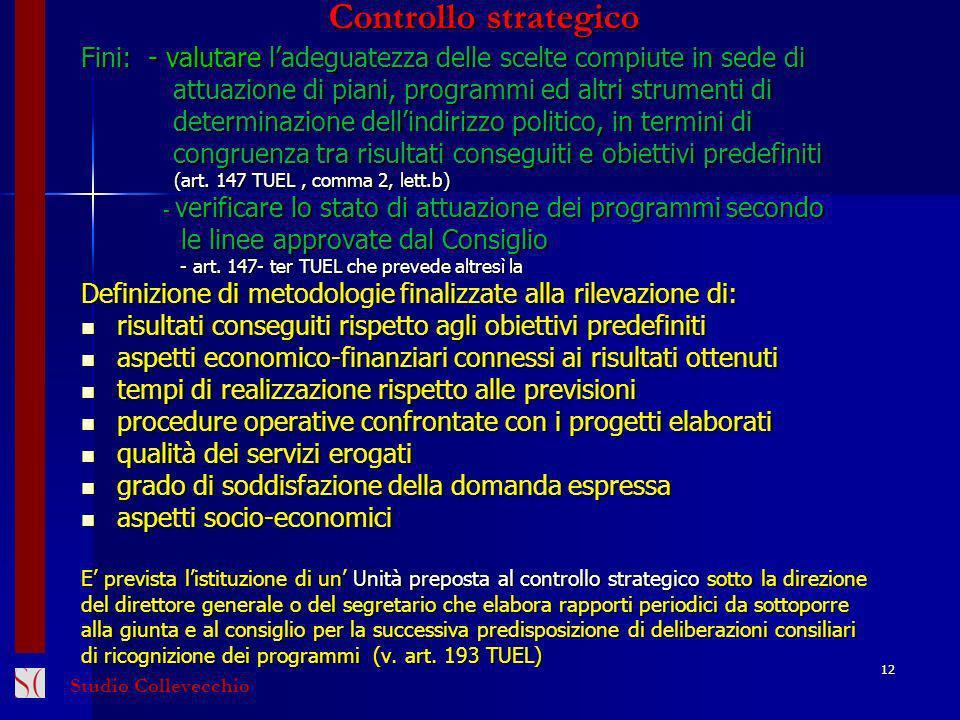 Controllo strategico Fini: - valutare ladeguatezza delle scelte compiute in sede di attuazione di piani, programmi ed altri strumenti di attuazione di