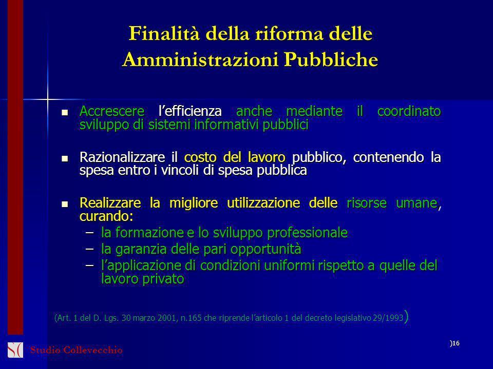 Finalità della riforma delle Amministrazioni Pubbliche Accrescere lefficienza anche mediante il coordinato sviluppo di sistemi informativi pubblici Ac