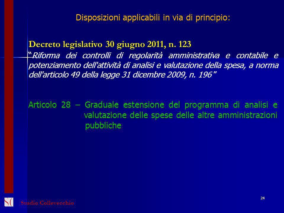 Disposizioni applicabili in via di principio: Decreto legislativo 30 giugno 2011, n. 123 Riforma dei controlli di regolarità amministrativa e contabil