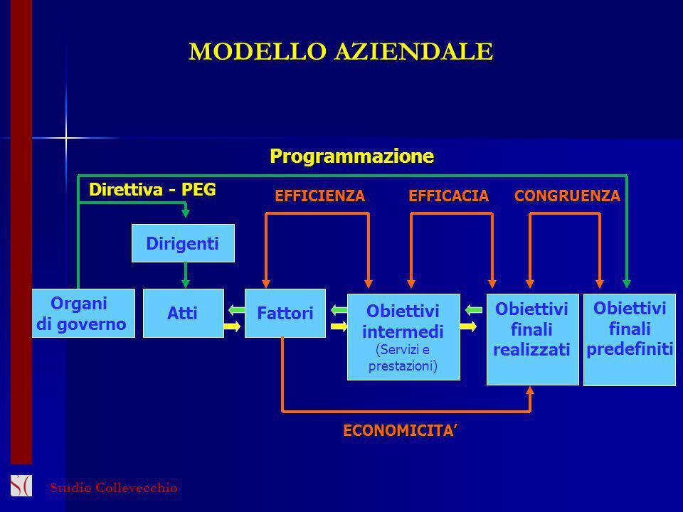 MODELLO AZIENDALE Dirigenti Organi di governo Atti Obiettivi finali realizzati Direttiva - PEG EFFICIENZAEFFICACIACONGRUENZA Fattori Obiettivi interme