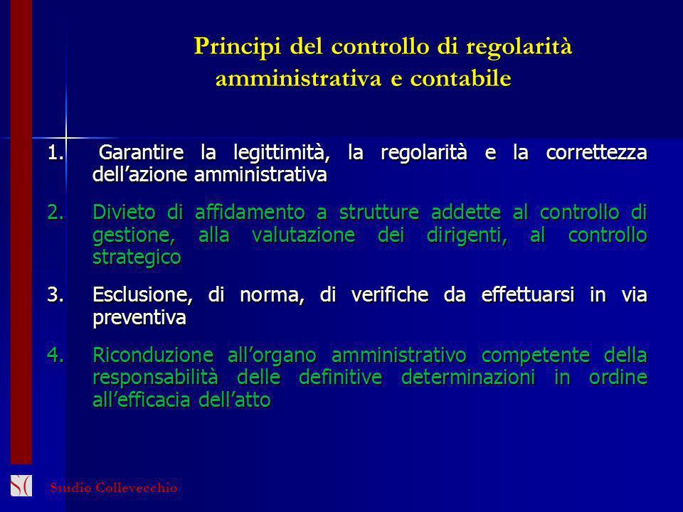 Principi del controllo di regolarità amministrativa e contabile Principi del controllo di regolarità amministrativa e contabile 1. Garantire la legitt