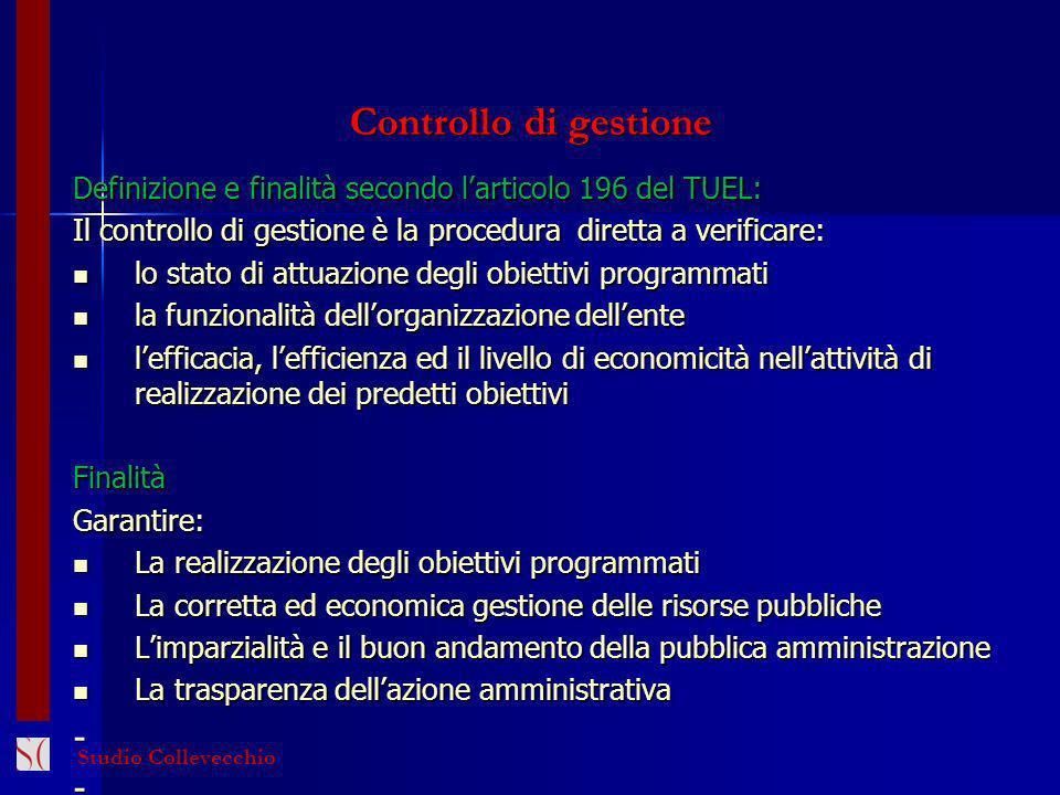 Controllo di gestione Definizione e finalità secondo larticolo 196 del TUEL: Il controllo di gestione è la procedura diretta a verificare: lo stato di