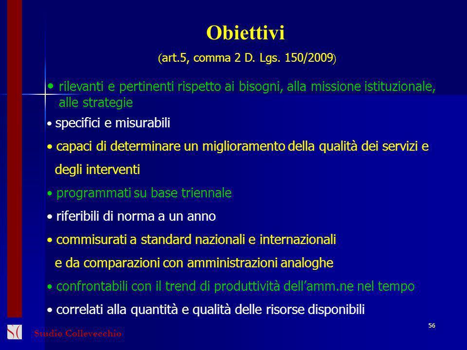 Obiettivi ( art.5, comma 2 D.Lgs.