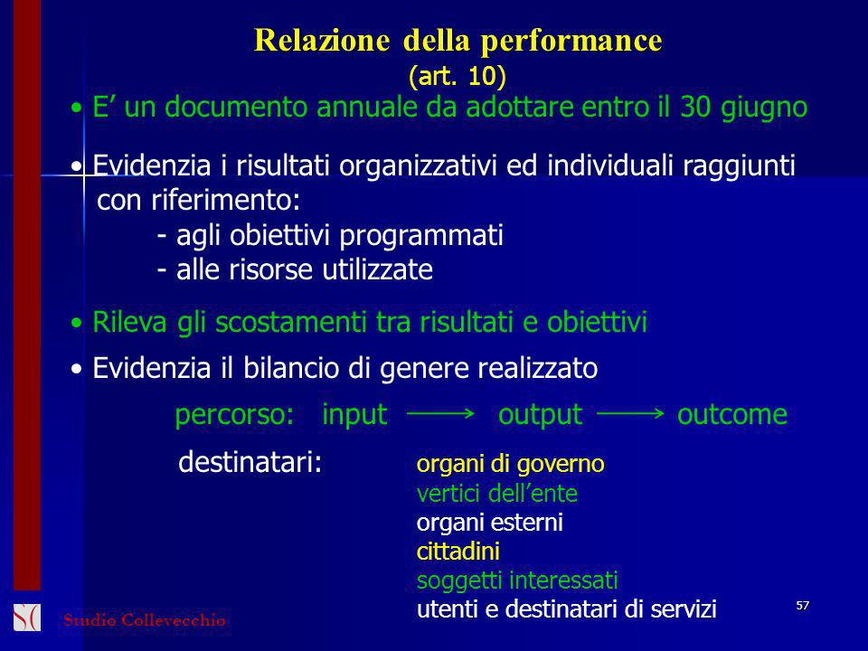 Relazione della performance (art. 10) E un documento annuale da adottare entro il 30 giugno Evidenzia i risultati organizzativi ed individuali raggiun