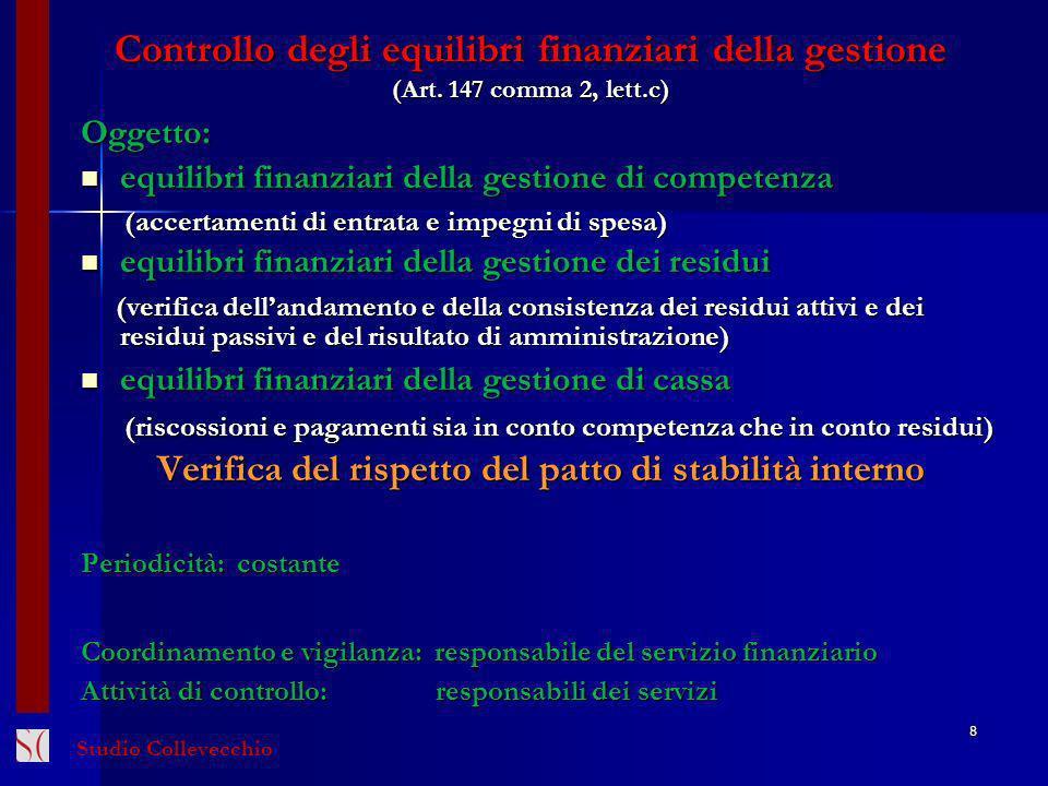 Controllo degli equilibri finanziari della gestione (Art. 147 comma 2, lett.c) Oggetto: equilibri finanziari della gestione di competenza equilibri fi