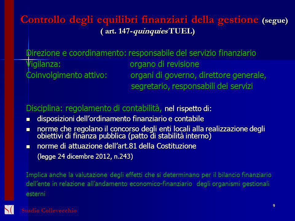 Controllo degli equilibri finanziari della gestione (segue) ( art. 147-quinquies TUEL) Direzione e coordinamento: responsabile del servizio finanziari