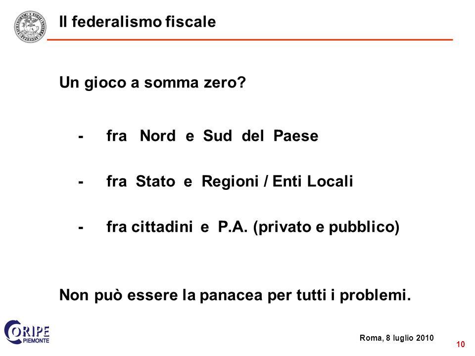 2 Roma, 8 luglio 2010 10 Il federalismo fiscale Un gioco a somma zero.