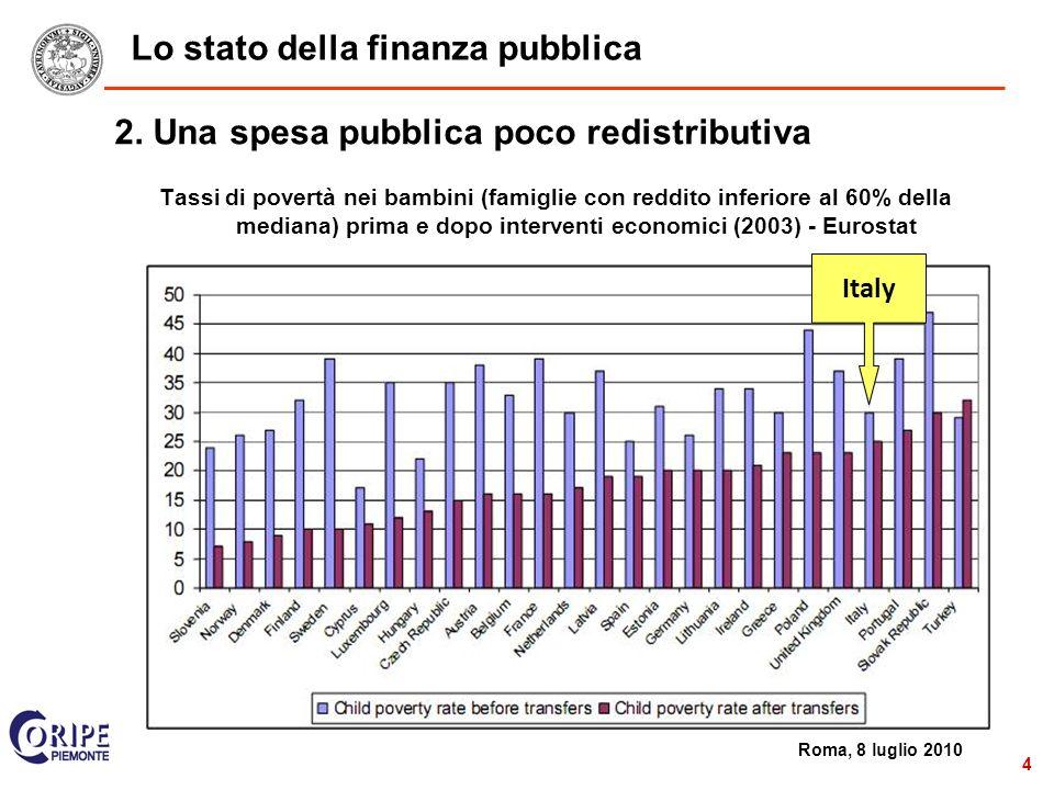 2 Roma, 8 luglio 2010 4 Lo stato della finanza pubblica 2.