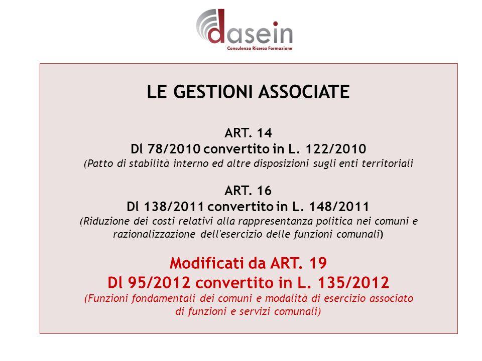 LE GESTIONI ASSOCIATE ART. 14 Dl 78/2010 convertito in L. 122/2010 (Patto di stabilità interno ed altre disposizioni sugli enti territoriali ART. 16 D