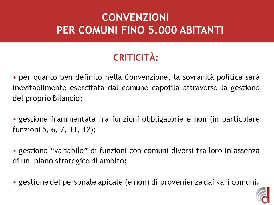 CONVENZIONI PER COMUNI FINO 5.000 ABITANTI CRITICITÀ: per quanto ben definito nella Convenzione, la sovranità politica sarà inevitabilmente esercitata
