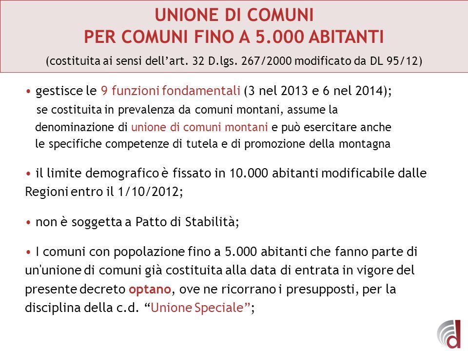UNIONE DI COMUNI PER COMUNI FINO A 5.000 ABITANTI (costituita ai sensi dellart. 32 D.lgs. 267/2000 modificato da DL 95/12) gestisce le 9 funzioni fond
