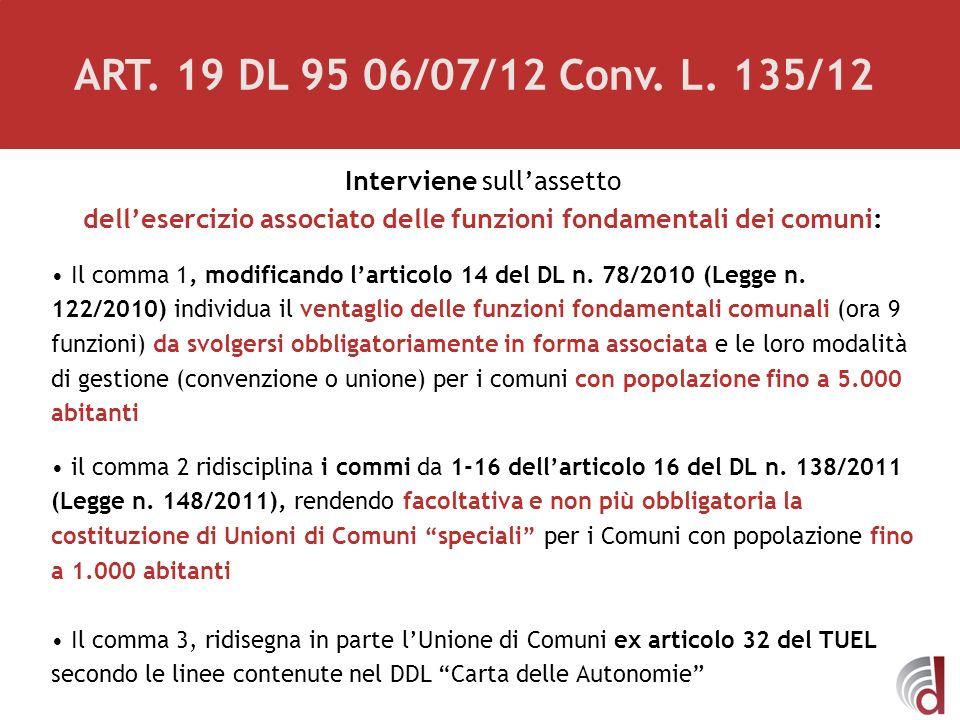 Interviene sullassetto dellesercizio associato delle funzioni fondamentali dei comuni: Il comma 1, modificando larticolo 14 del DL n. 78/2010 (Legge n