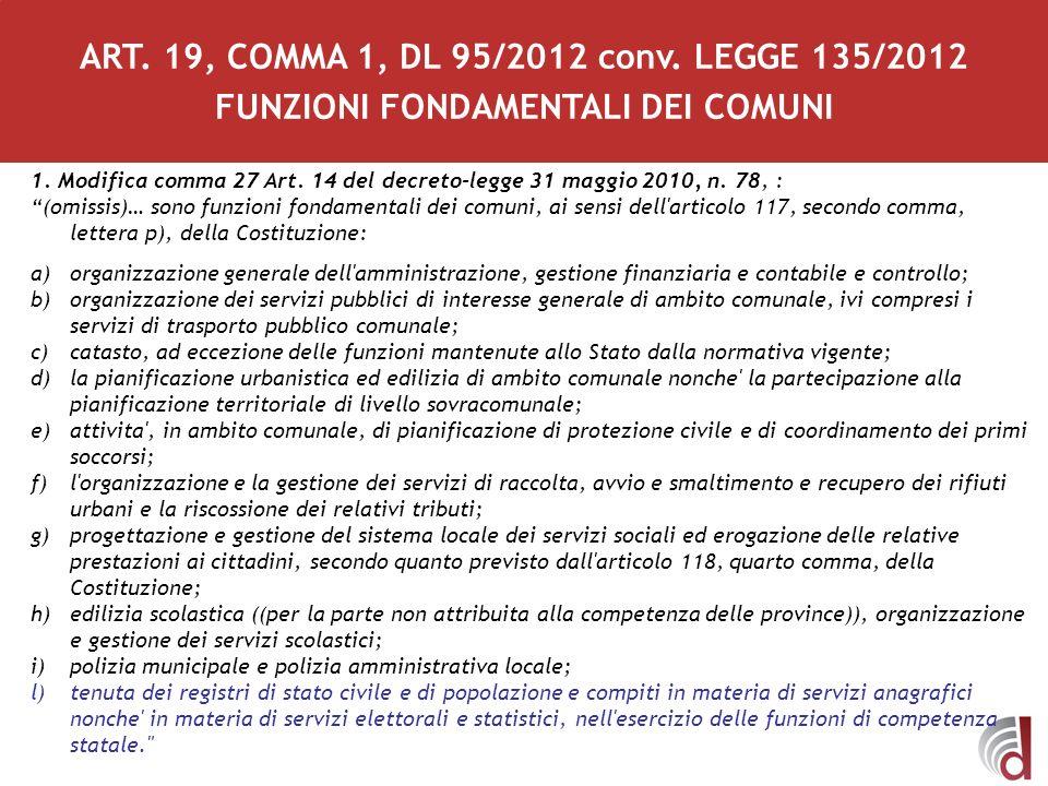 1. Modifica comma 27 Art. 14 del decreto-legge 31 maggio 2010, n. 78, : (omissis)… sono funzioni fondamentali dei comuni, ai sensi dell'articolo 117,