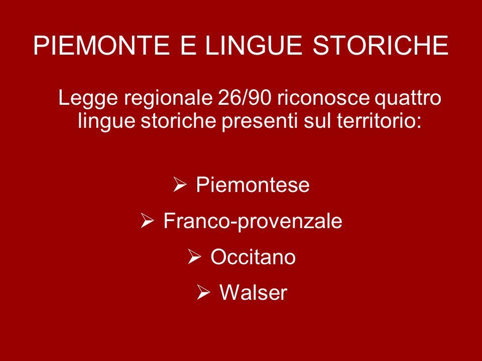 PIEMONTE E LINGUE STORICHE Legge regionale 26/90 riconosce quattro lingue storiche presenti sul territorio: Piemontese Franco-provenzale Occitano Wals