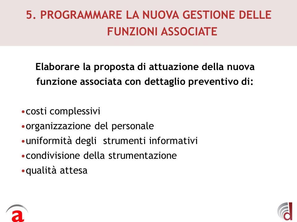 5. PROGRAMMARE LA NUOVA GESTIONE DELLE FUNZIONI ASSOCIATE Elaborare la proposta di attuazione della nuova funzione associata con dettaglio preventivo